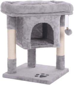 BEWISHOME Cat Tree Cat House Cat Condo with Sisal Scratching Posts